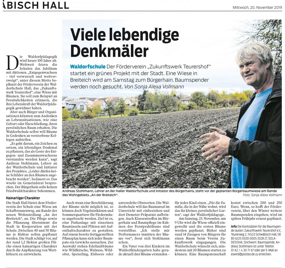 Viele lebendige Denkmähler – das Baumpflanzprojekt der Waldorfschule in Kooperation mit der Stadt Schwäbisch Hall